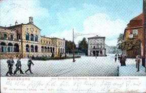 Der alte Hauptbahnhof mit dem Kommandantenbau im Jahr 1901.