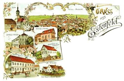Historische Postkarte von 1900 aus Estenfeld.