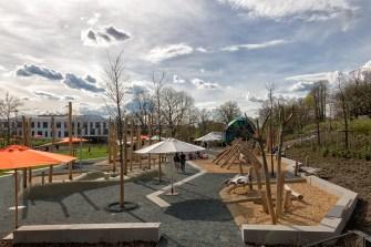 Die großen Kinderspielplätze bleiben nach der Ausstellung erhalten.