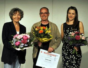 Die Autoren der Langen Nacht der Modernen Dramatik 2015, Angelika Waldis, Karsten Laske (Preisträger) und Livia Huber (v.l.n.r.)