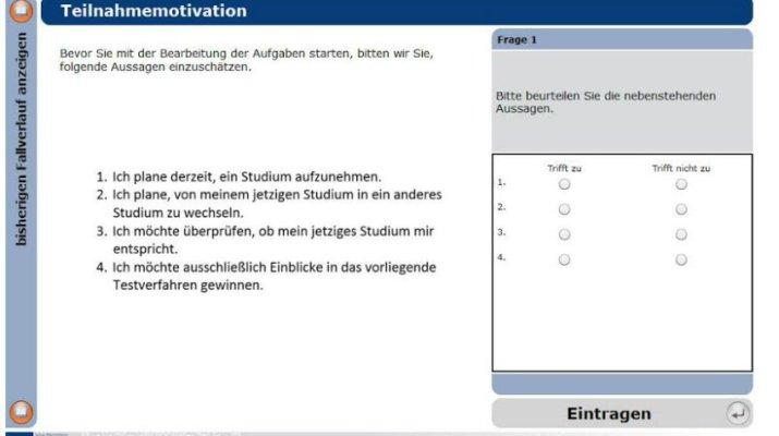 Screenshot der Webseite mit dem Selbsttest. (Grafik: Uni Würzburg)