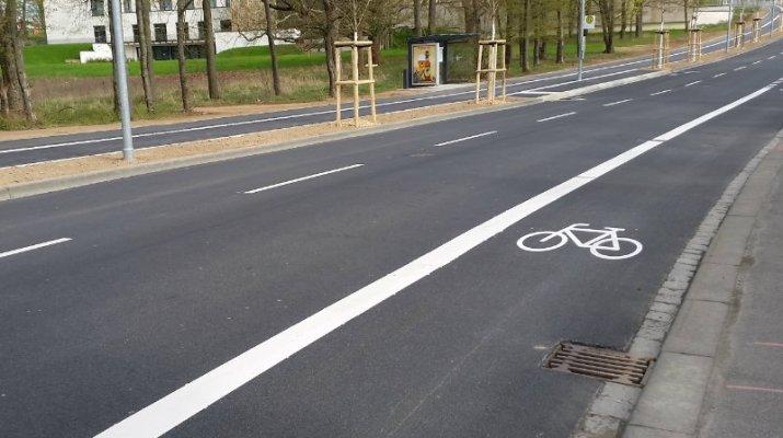 Neue Radfahrstreifen im Würzburger Stadtgebiet