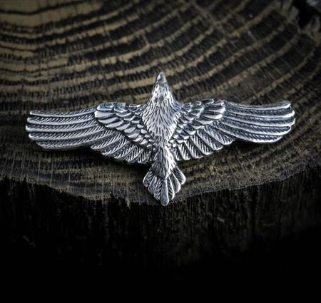 Corvus - Celtic Crow Pewter Talisman