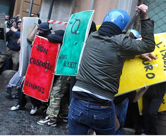 Books vs Italian riot cops