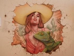 Wandmalerei, Airbrush auf Putz