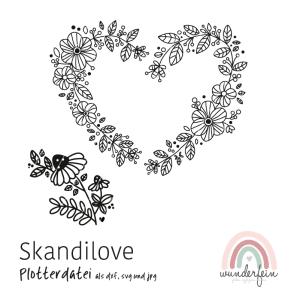Plotterdatei Skandilove - svg, dxf, jpeg - Herz und Blumenranke von wunderfein