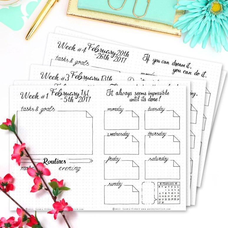 Free Bullet Journal Printables Kit • Weekly Planner February 2017 - Wundertastisch Design