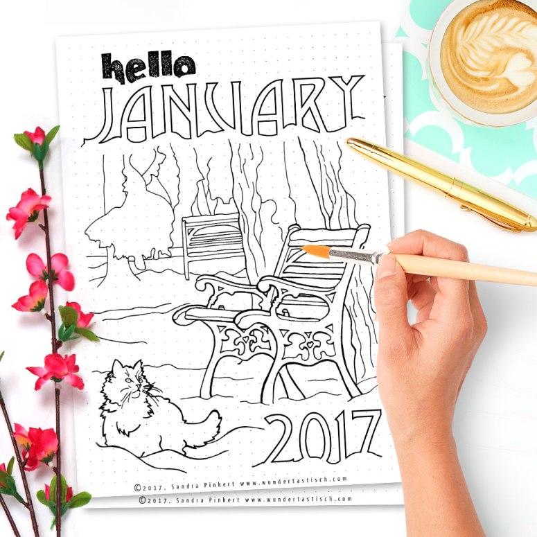 Free Bullet Journal Printable Kit • Hello January 2017 - Wundertastisch Design