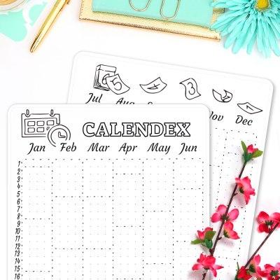 Bullet Journal Calendex Sticker