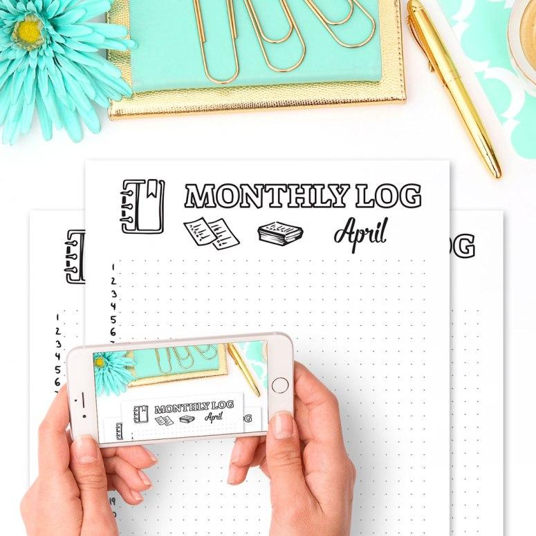 15 Bullet Journal Printables April 2017 • Monthly Log April 2017 - Wundertastisch Design