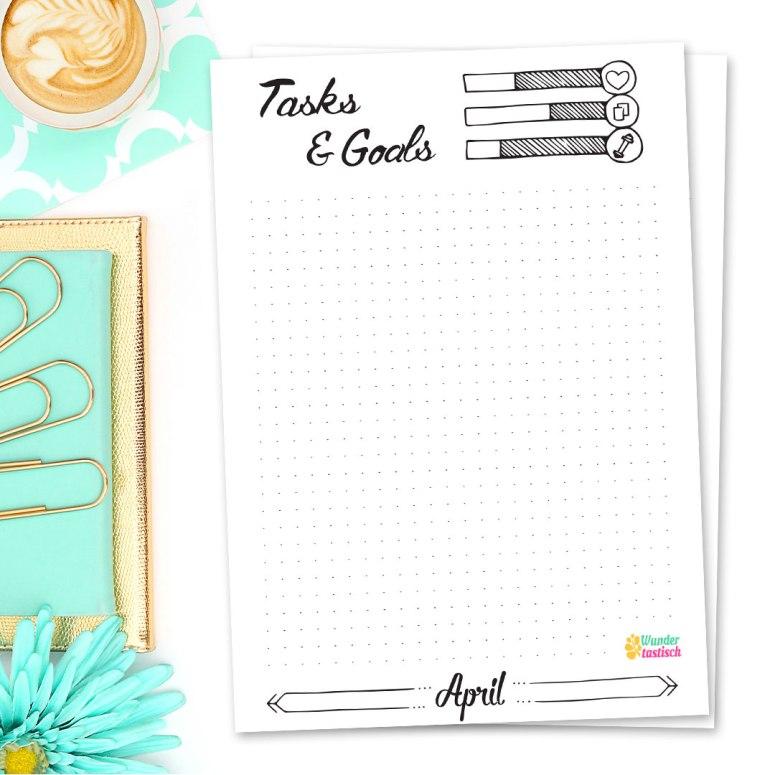15 Bullet Journal Printables April 2017 • Tasks & Goals April 2017 - Wundertastisch Design