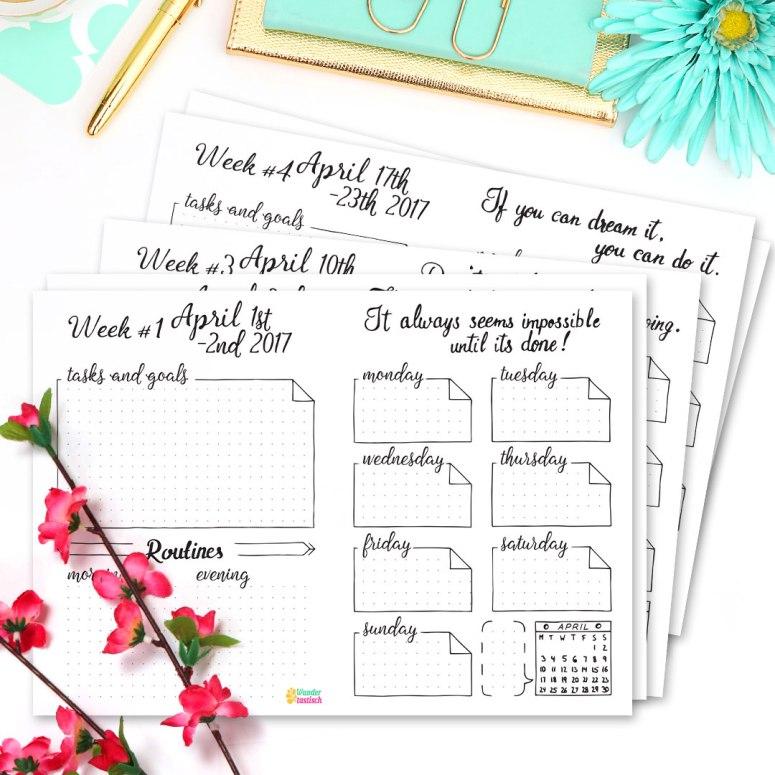 15 Bullet Journal Printables April 2017 • Weekly Planner April 2017 - Wundertastisch Design