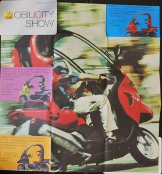 Mobilität: Werbeflyer für Fahr-Events mit dem BMW C1-Roller