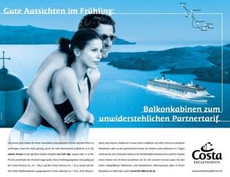 Tourismus: Inserat Costa Kreuzfahrten Frühlingsangebot