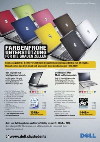IT Computer: Zeitschriften-Inserat mit Dell Notebook Angebot für Studenten