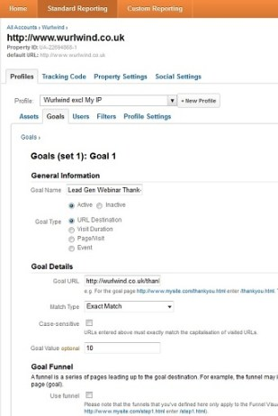 Set-up Screen for Goals in Google Analytics