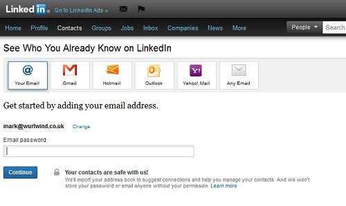 LinkedIn Contacts Email Screen