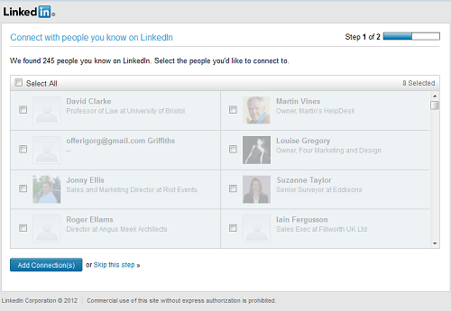 LinkedIn Contacts Invite screen