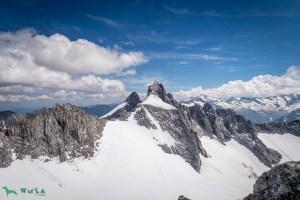 Rückblick zur Reichenspitze mit dem Gipfelaufbau.