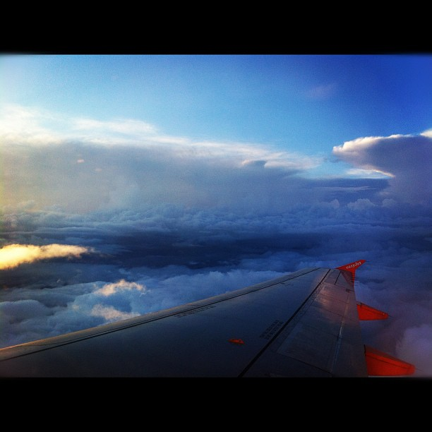 plane, flying, clouds, sky