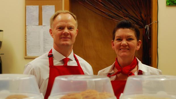 Steve & Margaret Phillips, owners of Cafe Des Marguerites.