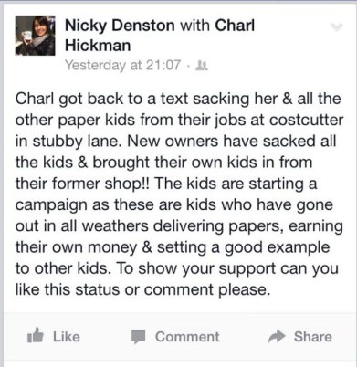 Nicky Denston facebook text