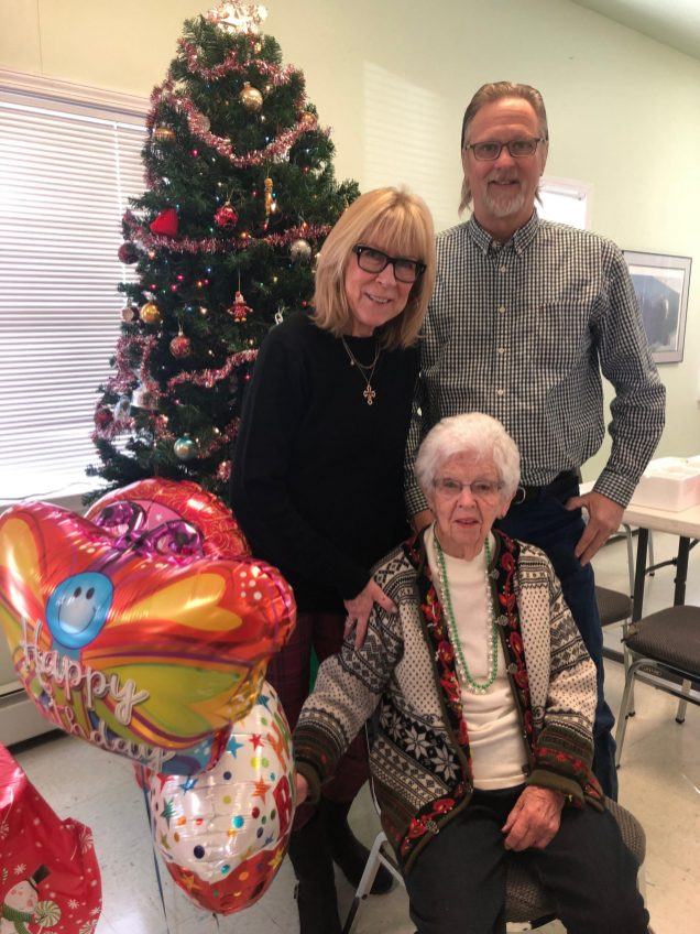 Hilda Hagen (seated) celebrated her 100th birthday on Thurs, Dec. 19 at the Warwick Senior Center with friends & family members, daughter-in-law Das & son, Kevin Hagen. Photo credit: Warwick Valley Dispatch/Sara Paul