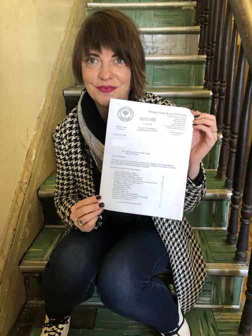 Mary Collura received a letter from the Orange County Board of Elections that only 84 of her petitions were valid. Collura will be a 'write-in' in the Village of Warwick Trustee election on Wed., Mar. 18. Photo credit: Warwick Valley Dispatch/Sara Paul