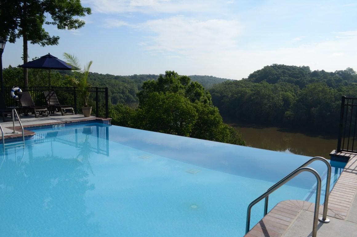 Bavarian Inn pool overlooking river