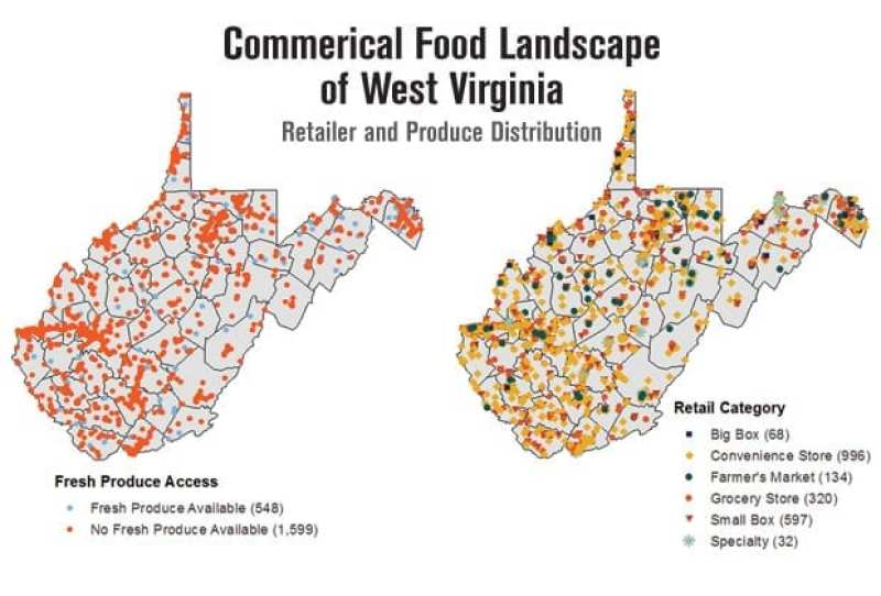 Map of West Virginia showing Commercial Food Landscape where all the retailer and Produce Distribute