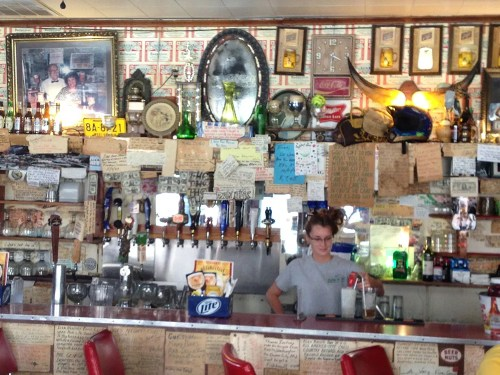 Eileen behind the bar at Mario's Fishbowl
