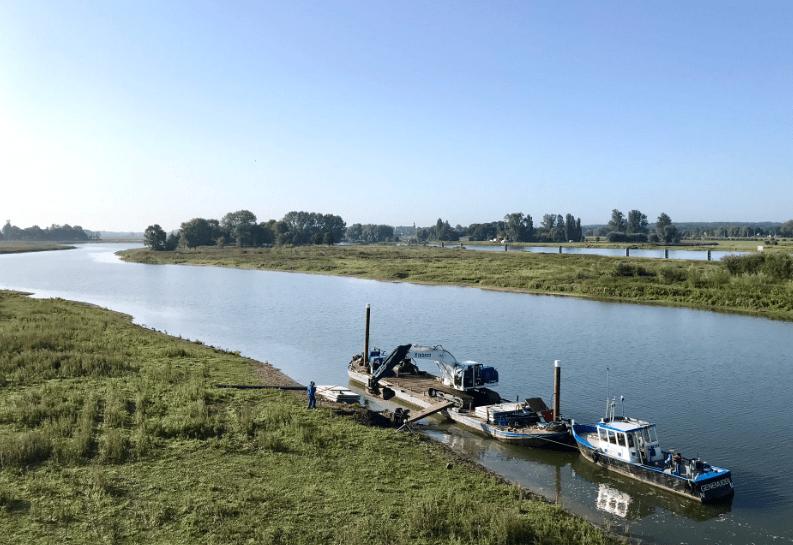Werkzaamheden aanleg veerstoep zijn gestart voor aanleg zelfbediening-voetveer in nevengeul Scheller en Oldeneler Buitenwaarden Zwolle Zuid