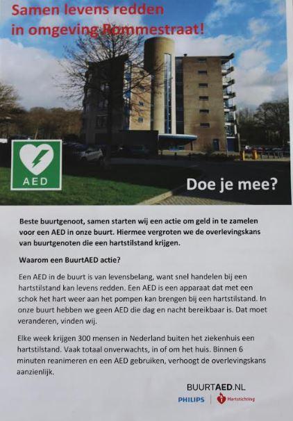 Helpen jullie mee geld in te zamelen voor een Buurt AED Pakket omgeving Rommestraat in Zwolle Zuid?