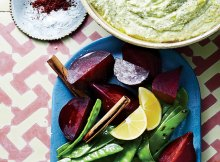 Weight Watchers Beets and Snow Peas with Skordalia Sauce-Recipe