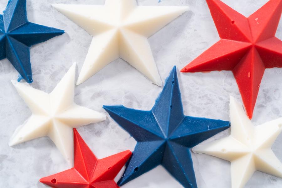 Homemade star-shaped chocolates