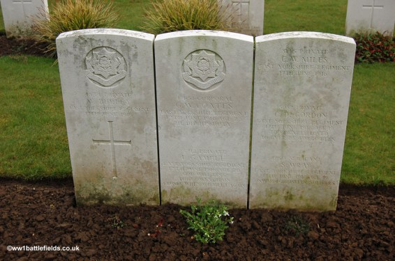 The graves of some of those from the 1/4th East Yorkshires who died on the 17th of June 1916