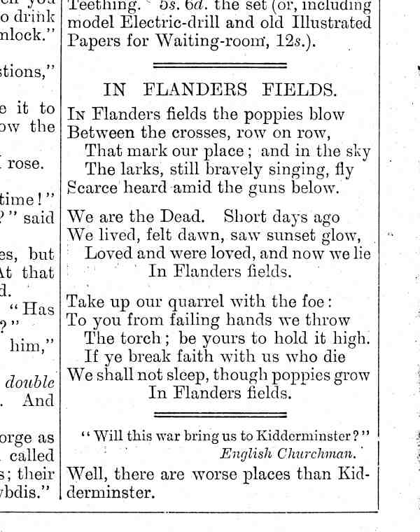 In Flanders Fields, as it appeared in Punch, December 1915