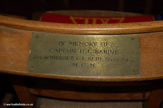 The name of Captain Skrine on a chair in St. Georges Memorial