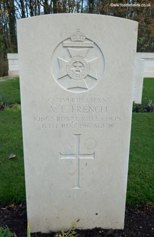 Grave of Rifleman French who died aged just 16