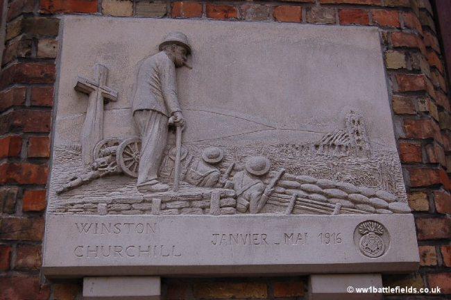 Plaque commemorating Winston Churchill on the Mairie in Ploegsteert