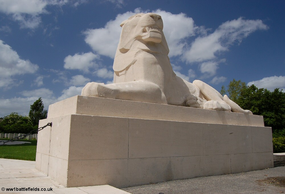 One of the lions guarding the Ploegsteert Memorial