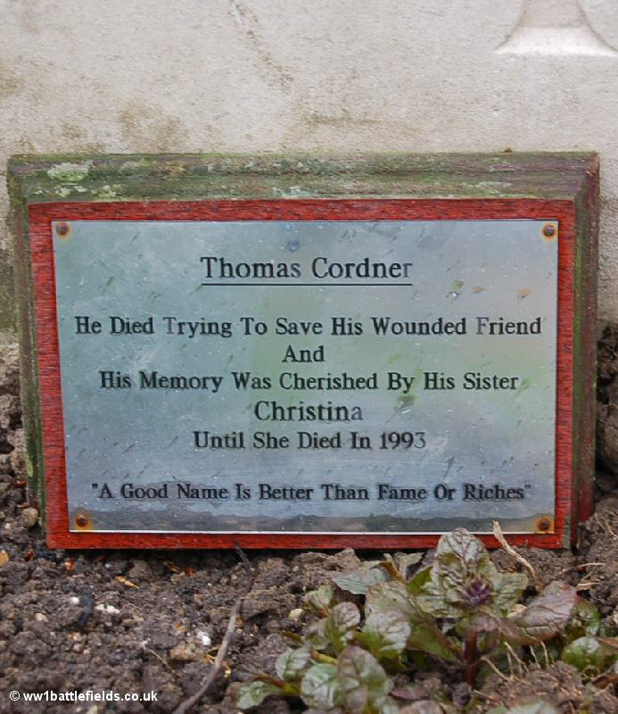 Plaque by Private Cordner's grave