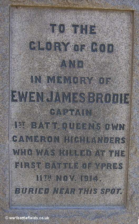 Detail of the inscription Captain Brodie's memorial in Glencourse Wood