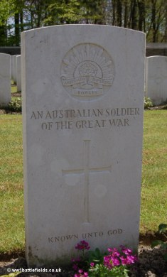 An unknown Australian soldier's grave
