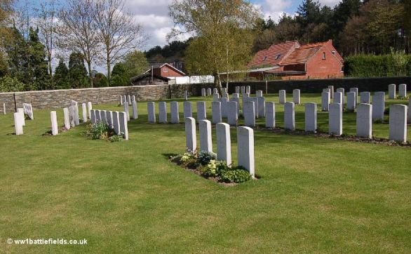 Irregular layout of burials at Polygon Wood Cemetery