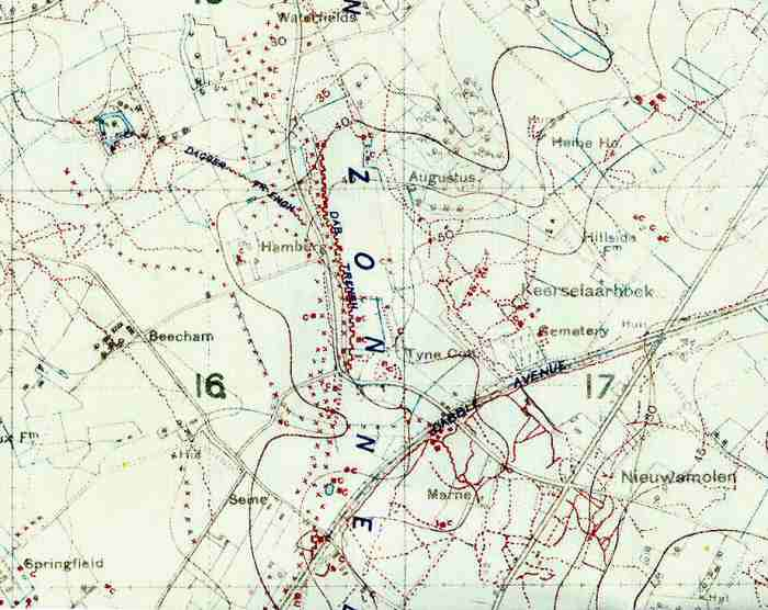 Trench Map Tyne Cot