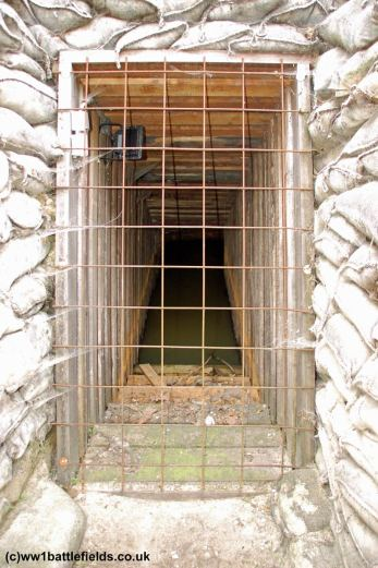 One of the dugout entrances at the Yorkshire Trench