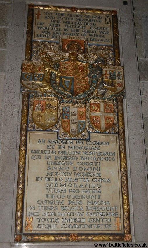 Plaque commemorating British and Empire War Dead