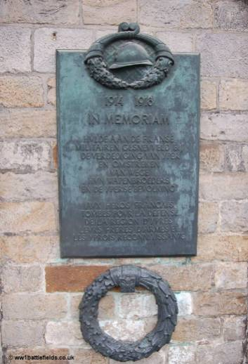 Memorial plaque to French soldiers on the wall of the Cloth Hall