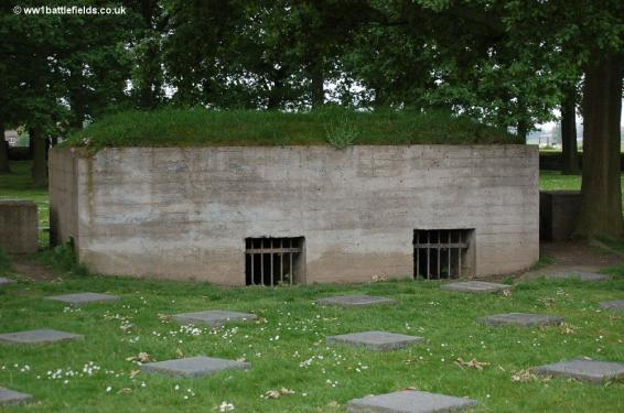 One of the blockhouses within Langemark German Cemetery